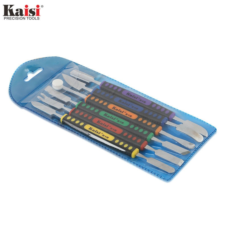 Kaisi 6Pcs Dual Ends Metal Spudger Set for iPhone iPad Tablet Mobile Phone Prying Opening Repair Tool Kit Hand Tool Sets