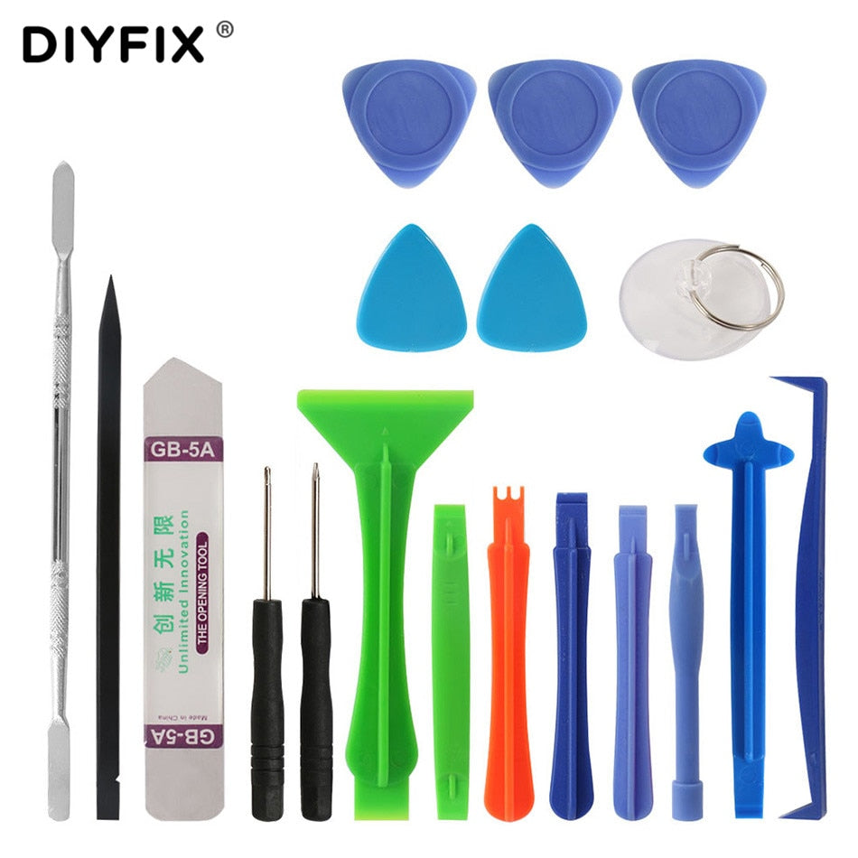 DIYFIX 19Pcs Phone Repair Tool Kit Metal Pry Bar Mobile Phone Disassemble Tools Kit for iPhone Samsung PC DIY Hand Tools Set