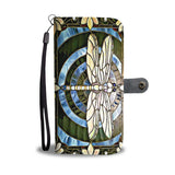 DRAGONFLY STAINED GLASS PHONE WALLET CASE ENHANCED