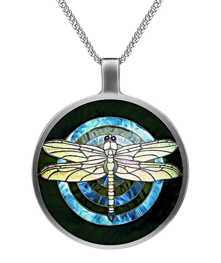 DRAGONFLY STAINED GLASS NECKLACE-Jewelry-Heart Colorado