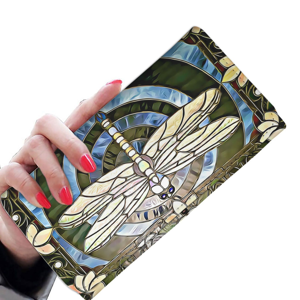 Dragonfly Stained Glass Women's Wallet Enhanced-Womens Wallet-Heart Colorado