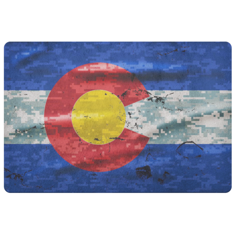 Digital Camo Colorado Flag Door Mat