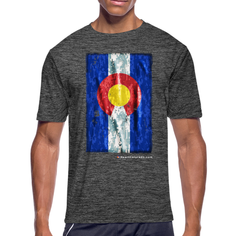 Men's Moisture Wicking Digital Camo Colorado Flag Performance T-Shirt - dark heather gray