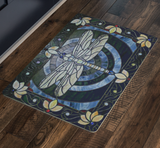 Stained Glass Dragonfly Door Mat