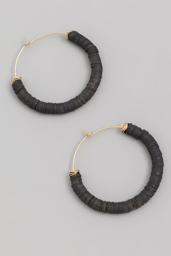Polymer Disc Hoop Earrings