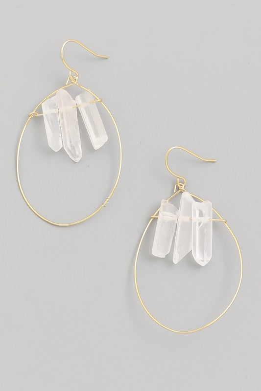 Three Stone Wire Hoop Drop Earrings