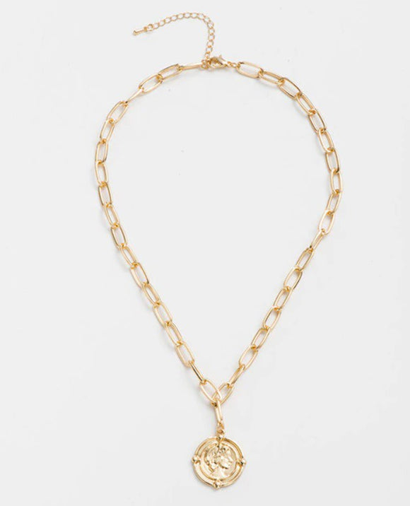 Gold Pendant Necklace - Coin