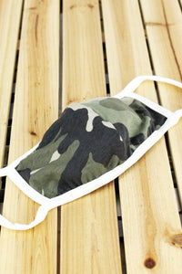 CAMOUFLAGE FACE MASK with White Outline