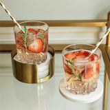 Marble Coaster & Brass Holder Set
