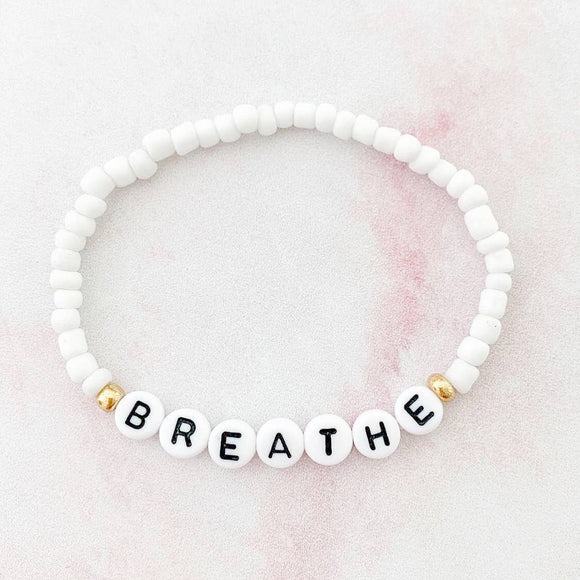 Breathe - Word Bracelet, White