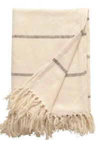 Brushed Cotton Striped Throw w/ Fringe