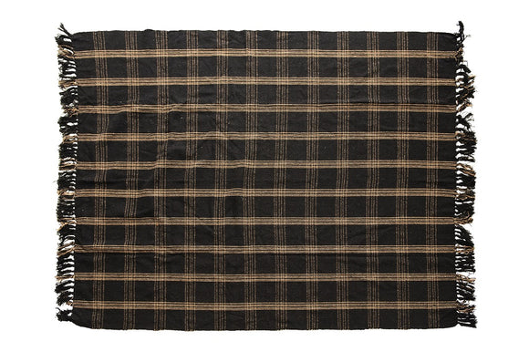 Plaid Black & Tan Fringed Woven Cotton Blend Throw
