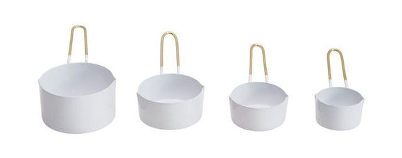 Enameled Measuring Cups, White w/ Gold Finish Handles