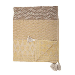 Recycled Cotton Blend Woven Throw w/ Tassels, Mustard Color