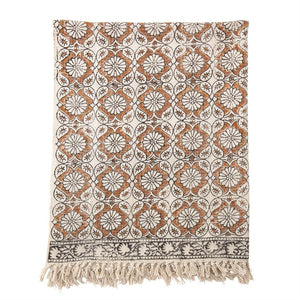 Cotton Printed Throw w/ Fringe