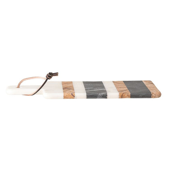 Marble Tray/Cutting Board w/ Stripes & Leather Tie