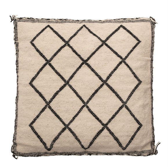 Square Woven Wool & Cotton Blend Pillow w/ Tassels, Black & Natural