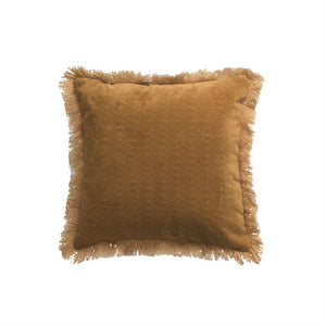 "18"" Square Fabric Pillow w/ Eyelash Fringe, Mustard Color"