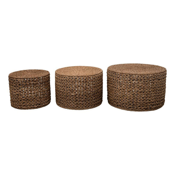Hand-Woven Water Hyacinth Nesting Tables