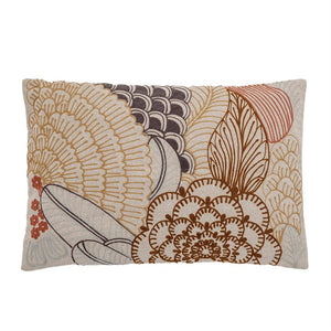 Cotton Lumbar Pillow with Embroidery