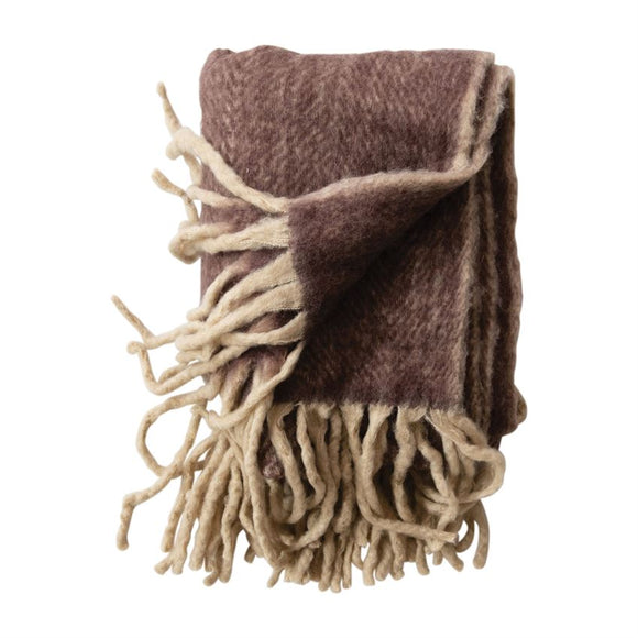 Plum Wool & Acrylic Throw with Fringe