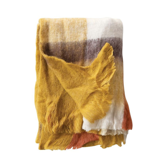 Multi Color Plaid Wool & Acrylic Throw with Fringe
