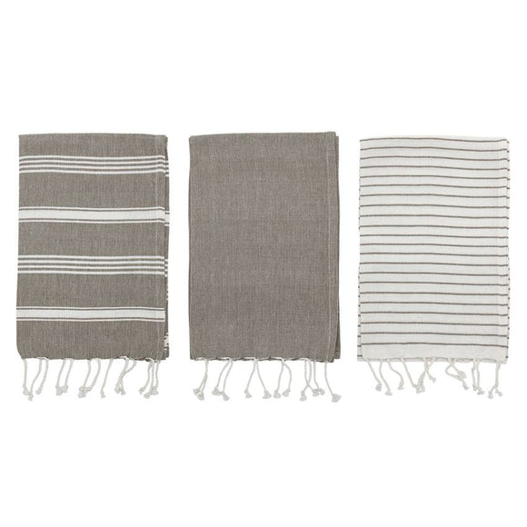 Woven Cotton Striped Tea Towels with Tassels