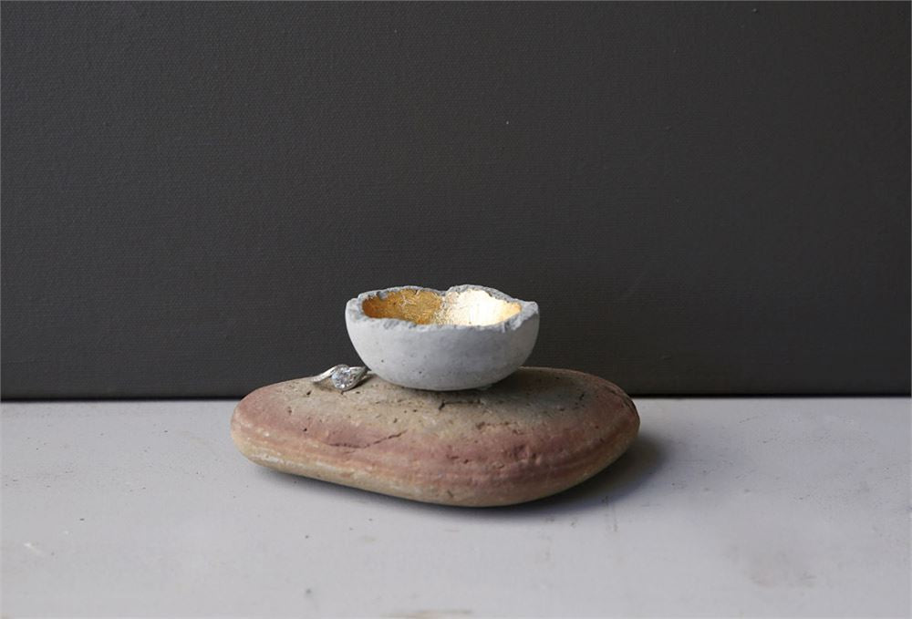 Round Decorative Cement Bowl with Gold Detail