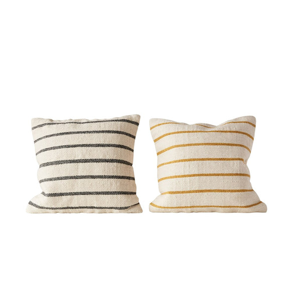 Square Wool Blend Woven Striped Pillow, 2 Colors