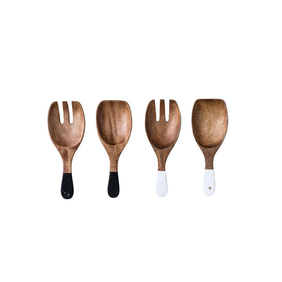 Hand-Carved Wood Salad Servers, 2 Colors