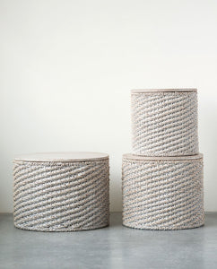 Natural Woven Water Hyacinth Tables w/ Mango Wood Top