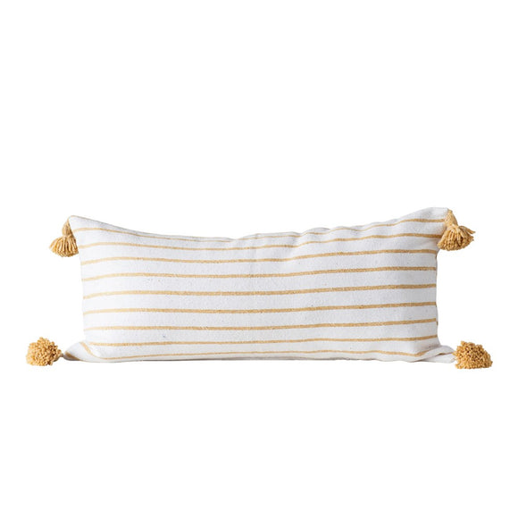 Cotton Striped Pillow, Mustard w/ Mustard Tassels
