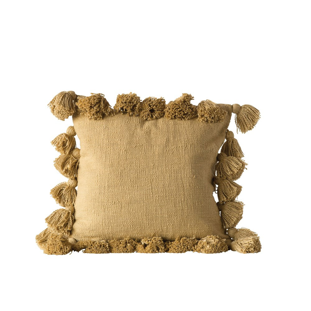 "18"" Square Cotton Woven Slub Pillow w/ Tassels, Mustard Color"