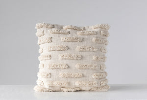 Natural Square Woven Cotton Pillow w/ Fringe