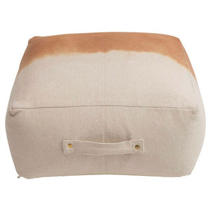 Dip Dyed Cotton Canvas Pouf with Handle