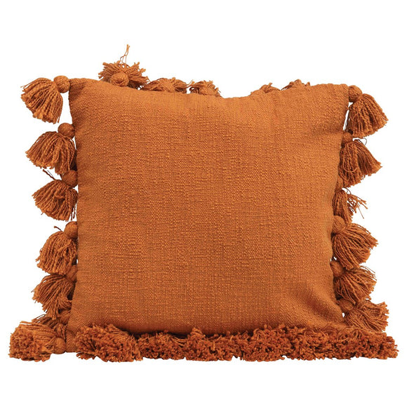 Square Pumpkin Spice Pillow with Tassel Trim