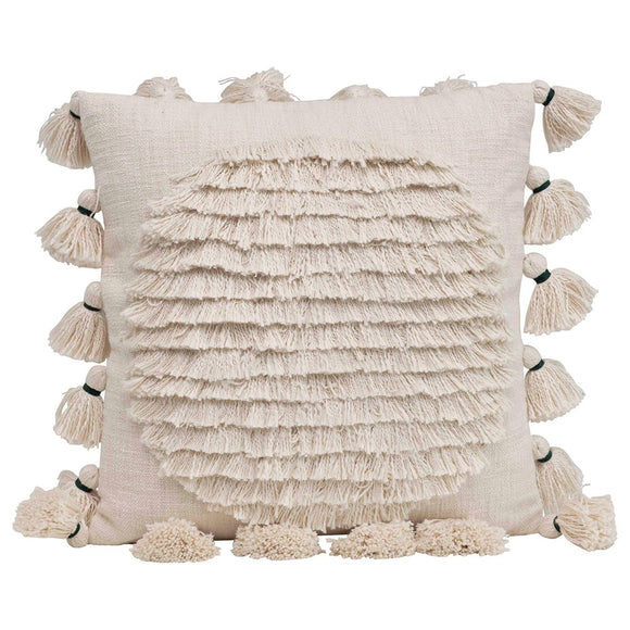 Cotton Embroidered Pillow w/ Fringe & Tassels