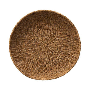 "21.5"" Round x 3""H Hand-Woven Decorative Seagrass Tray"