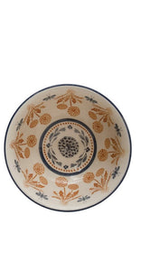 Round Stoneware Bowl with Thistle Pattern, 2 Styles