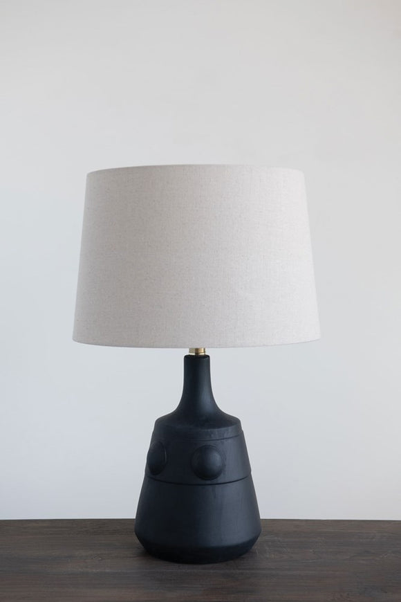 Terra-cotta Table Lamp with Embossed Dots, Linen Shade & Rotary Switch, Black