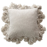 Grey Square Cotton Slub Pillow with Crochet & Tassels