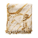 Cotton Tie-Dyed Throw with Fringe, Mustard Color