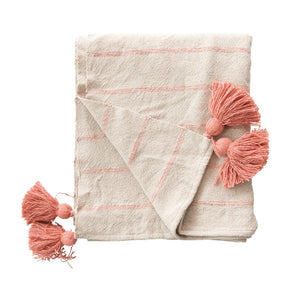 Woven Recycled Cotton Throw with Stripes & Tassels, Pink