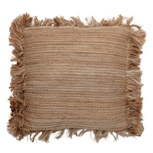 Square Jute Pillow with Fringe, Natural