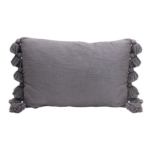 Cotton Slub Lumbar Pillow with Tassels, Blue