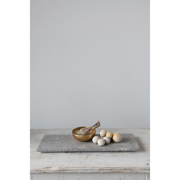 Travertine Marble Serving Tray, Grey