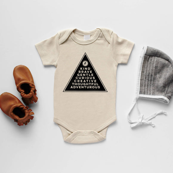 Gladfolk - Cream Badge Of Honor Organic Baby Bodysuit