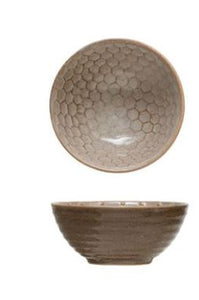 Stoneware Bowl with Relief Pattern