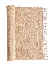Blush Handwoven Jute & Chenille Runner Rug with Fringe