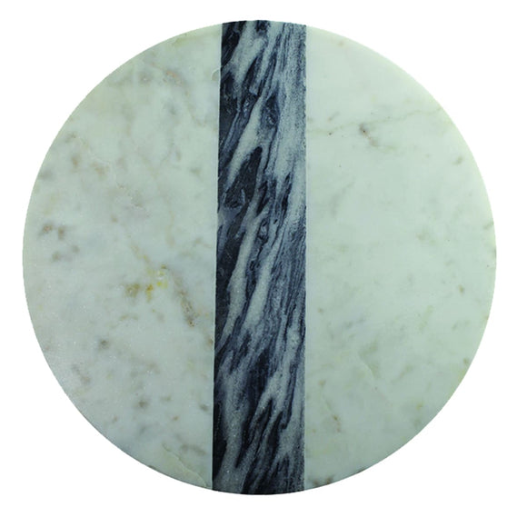 White & Gray Marble Round Board, Large